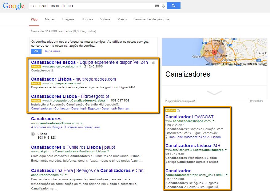 Resultados na pesquisa do Google