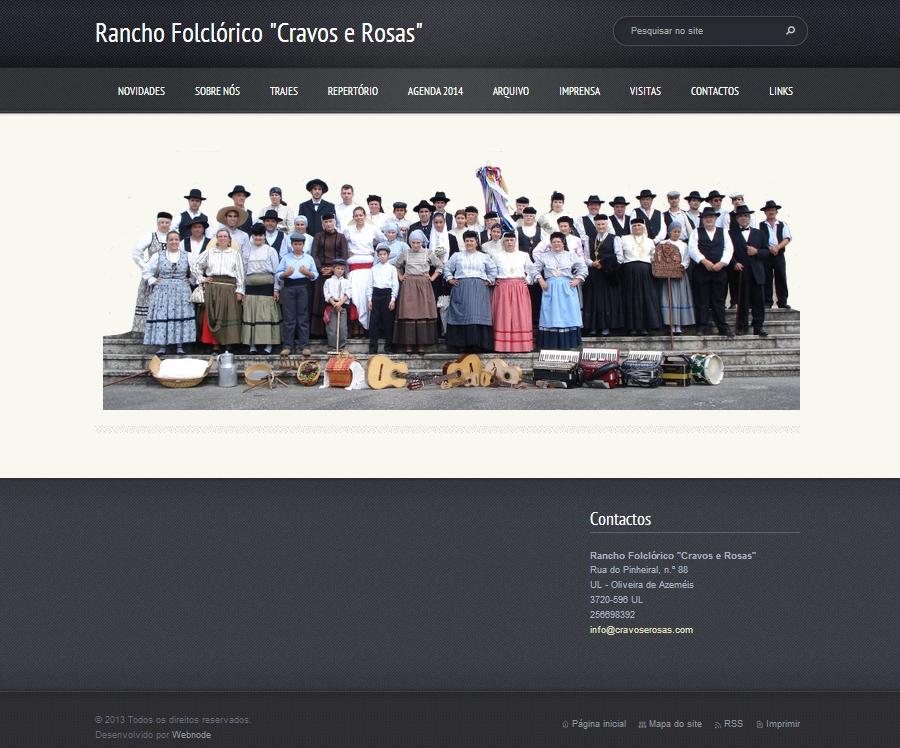 """Página Inicial do site Rancho Folclórico """"Cravos e Rosas"""""""