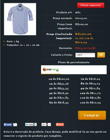 Exemplo de um site com a nova ferramenta Cálculo de Frete