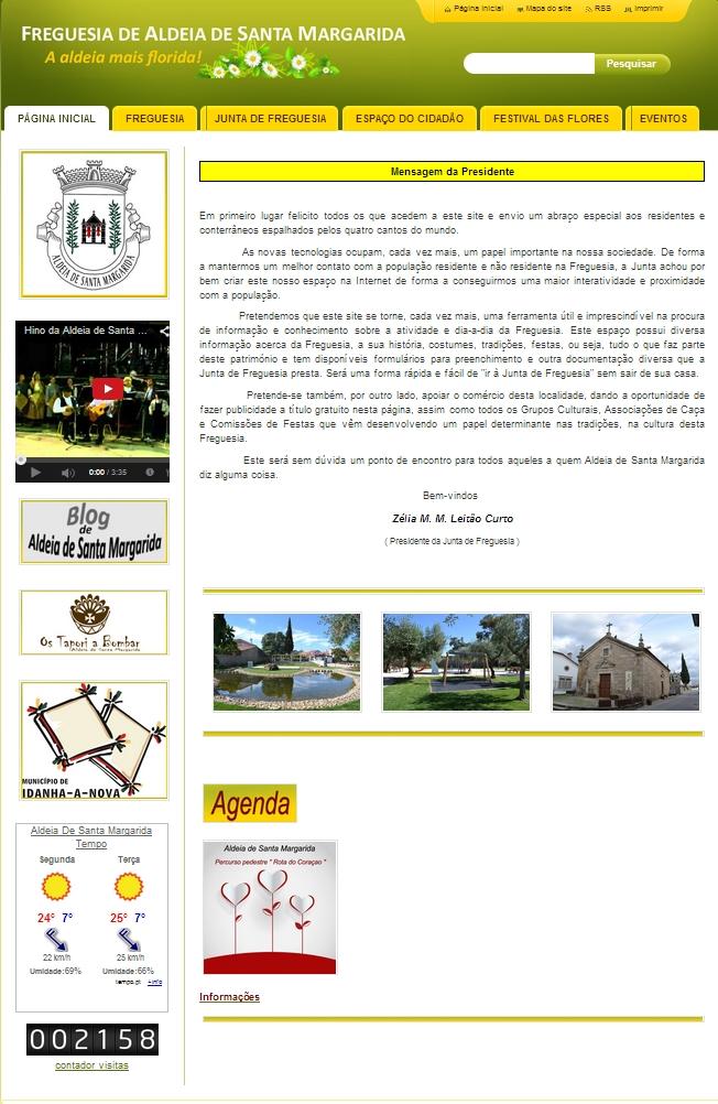 A página inicial de www.jf-aldeiastamargarida.pt