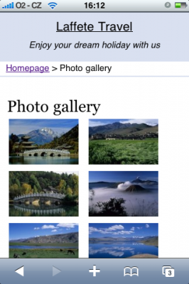 Webnode photo gallery from a mobile device