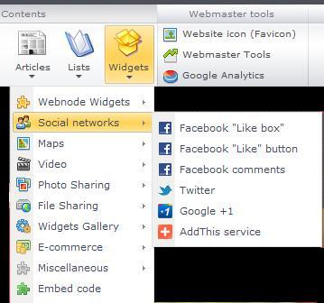 Webnode widgets