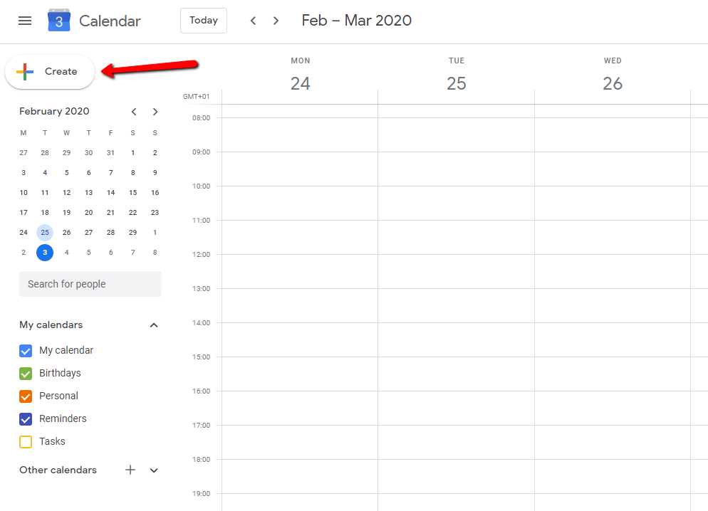 How to create a new event in Google calendar