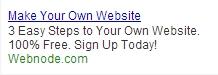Der Anzeigentext in der Kampagne von Webnode wird regelmässig überprüft und optimiert.