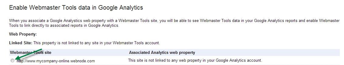 How to enable Webmaster Tools data