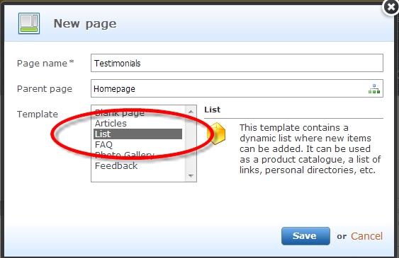 Create a list in Webnode