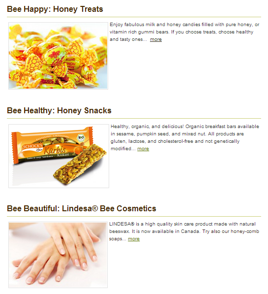 Produkte mit Produktbeschreibungen.