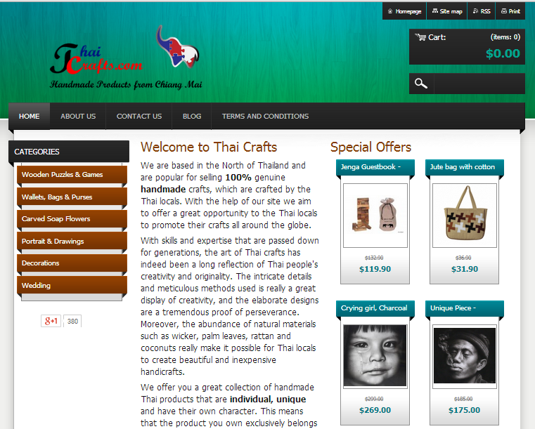 Homepage of Thai crafts