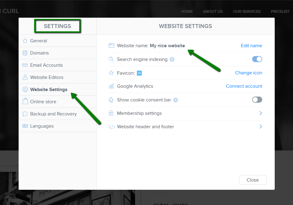 SEO settings in Webnode website builder