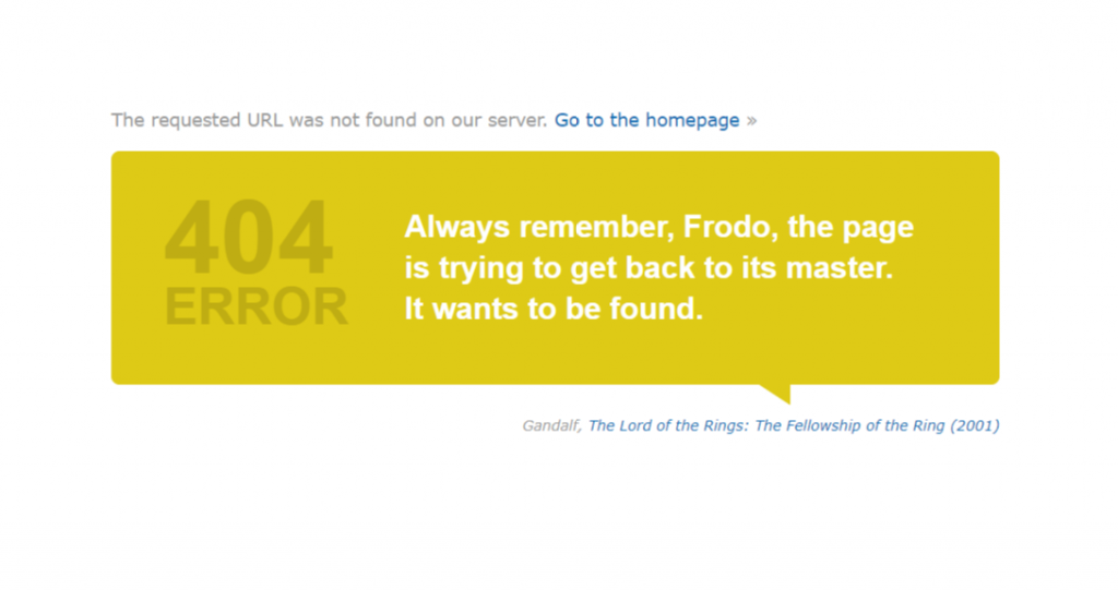 Great example of an error message from a movie database Imdb