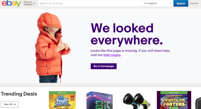 Example of a great error page from Ebay
