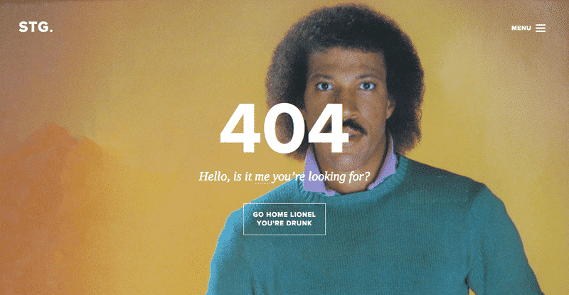 404 error page with Lionel Ritchie