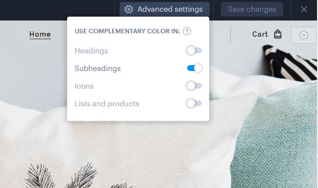 In webnode website builder you can now choose complementary colors.