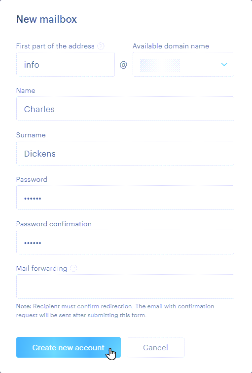 A form for setting up an email account with a domain name.