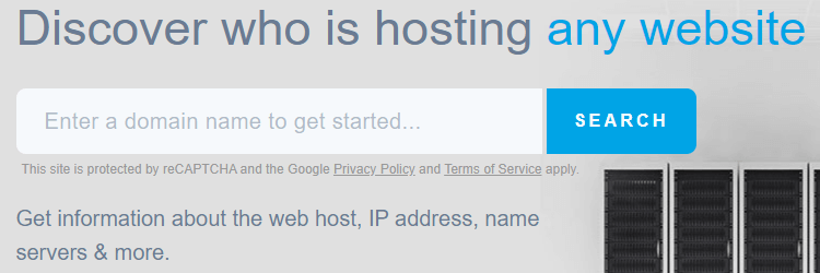 Search box to find out who is hosting any domain.