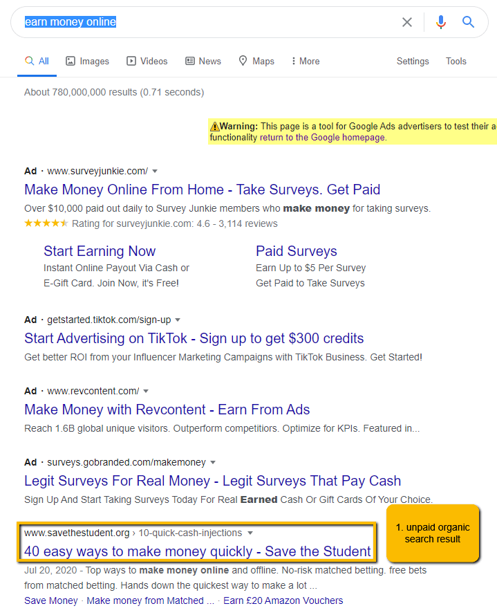 What organic search results look like