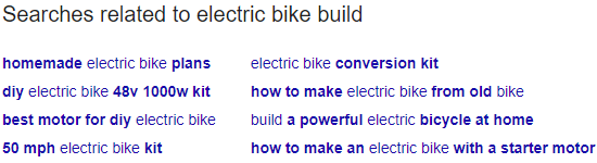 Related queries that Google offers below the search results.