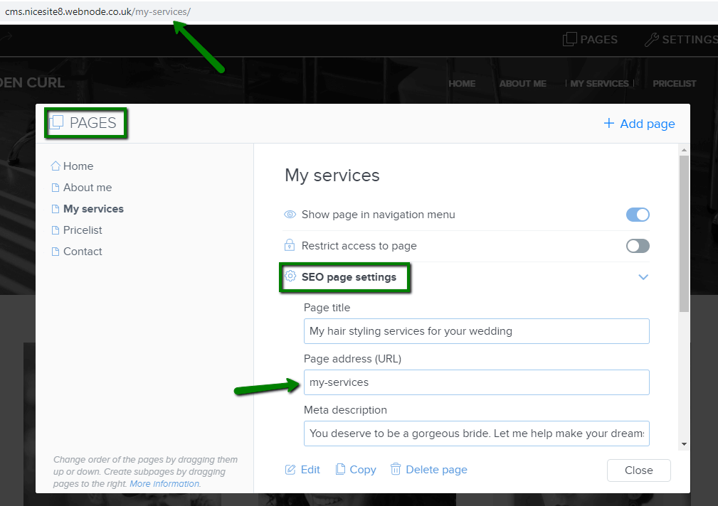 Setting up your own page URL