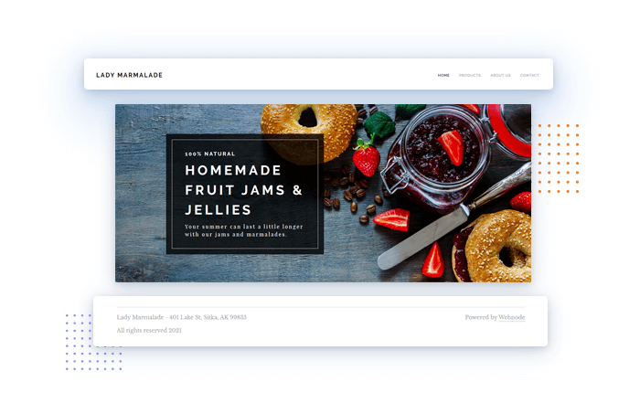 Major elements of a website, example image of top navigation bar, header and footer