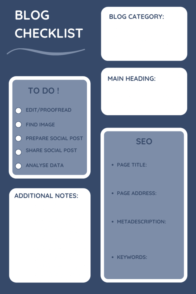 Blog checklist showing blog catergory at the top followed by main header, SEO and to do list to tick off most important tasks, like proofread, find image, share social post, analyse data.