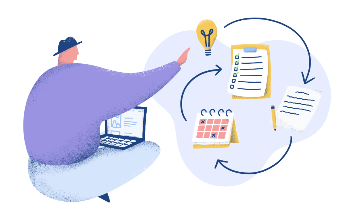 seated character in purple sweater in control of his plans to organize and schedule all steps from the idea to the written text