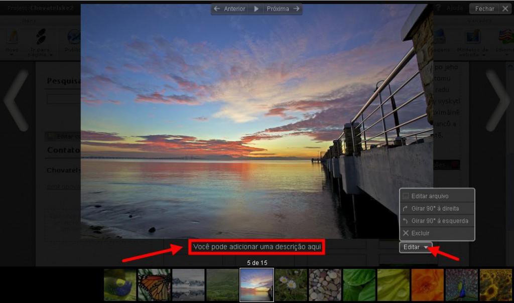 Gestão de Nova Galeria de Fotos do Webnode