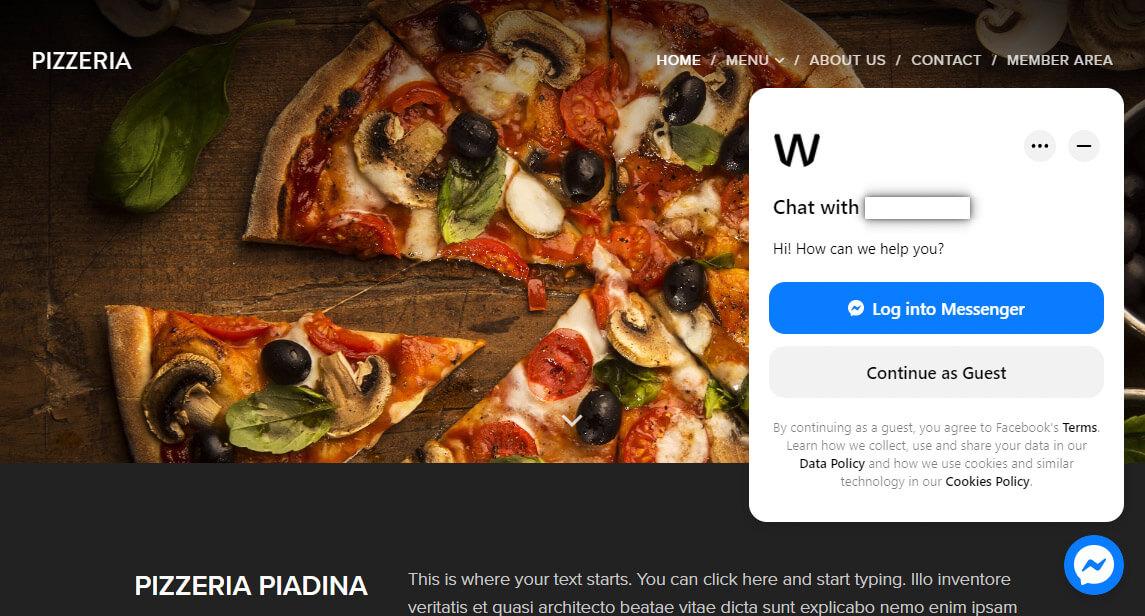 Exibição de Facebook chat no site Webnode