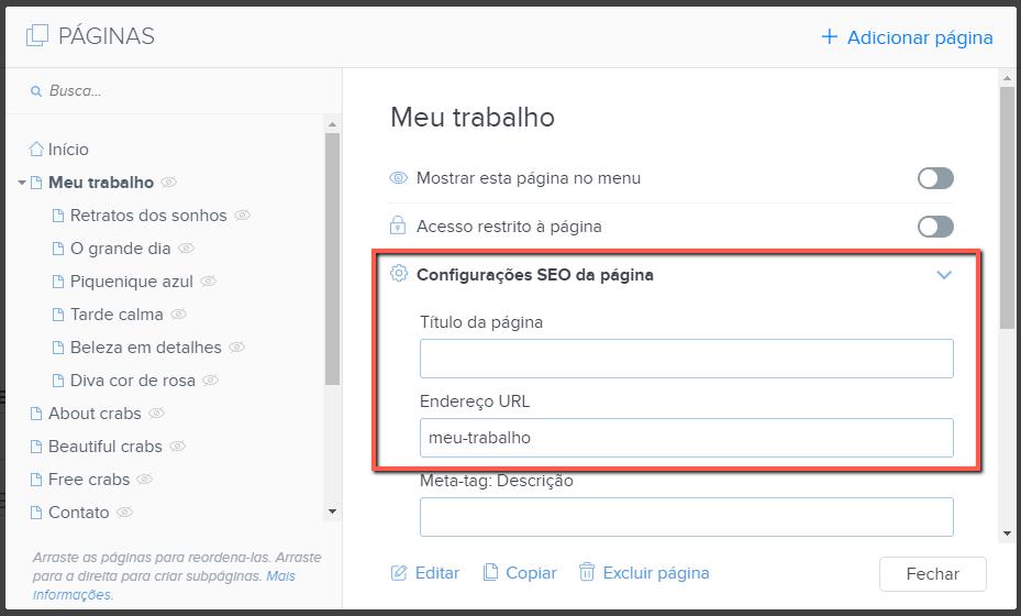 Titulo da aba, URL da página no editor Webnode