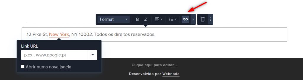 Editando rodapé do site Webnode