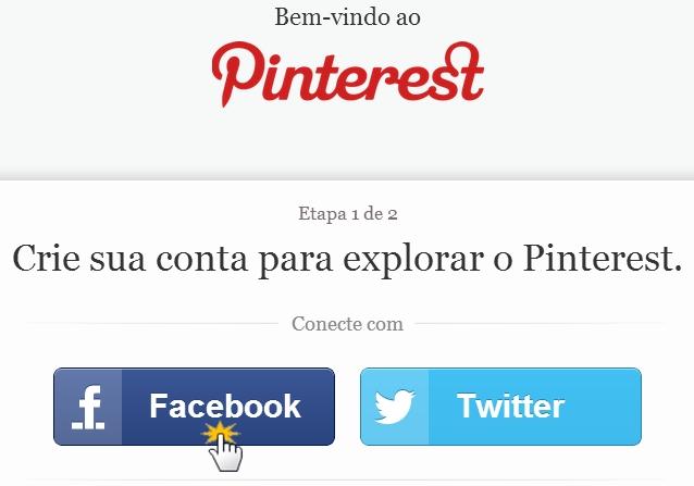 Entre no Pinterest através da sua conta do Facebook