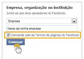 Dados solicitados na criação de uma página do Facebook