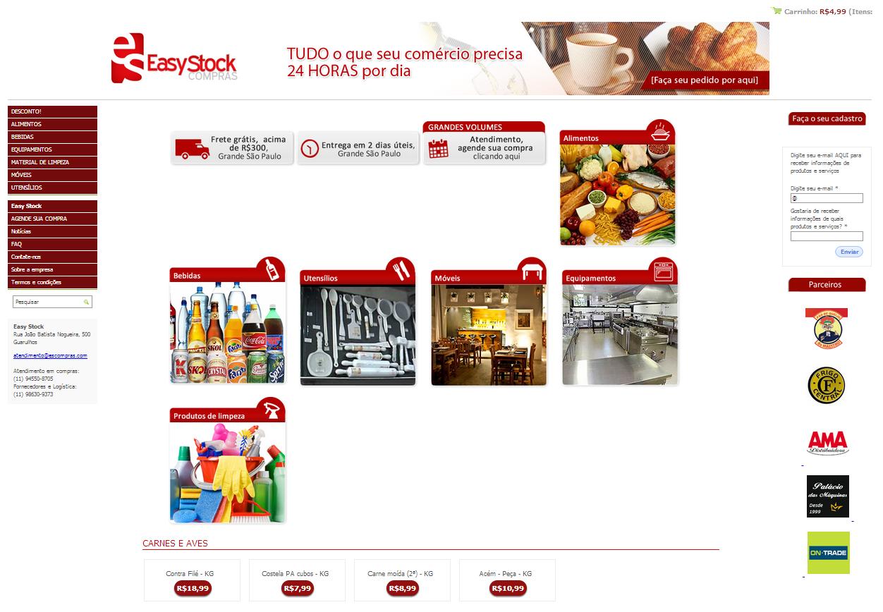 Página Inicial da Loja Virtual Easy Stock