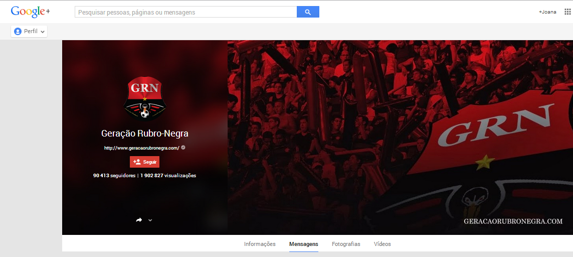 Page Google + du site Geração Rubro Negra