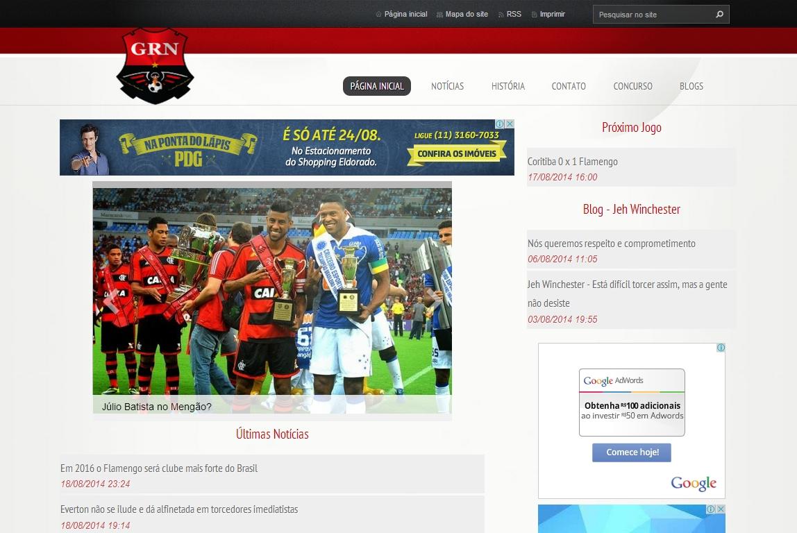 Page d'accueil du site Geração Rubro Negra