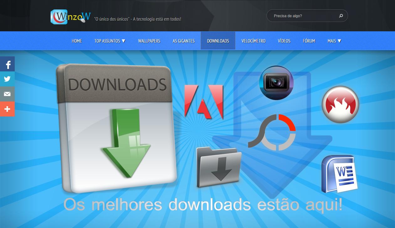 Cabeçalho da página ''Downloads'' do site Portal Winzow
