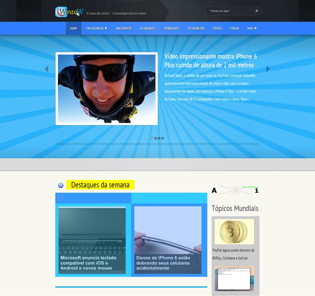 Página Inicial do site Portal Winzow