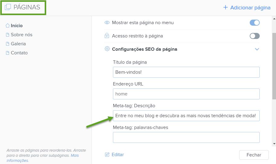 SEO - Configurando meta descrição com Webnode