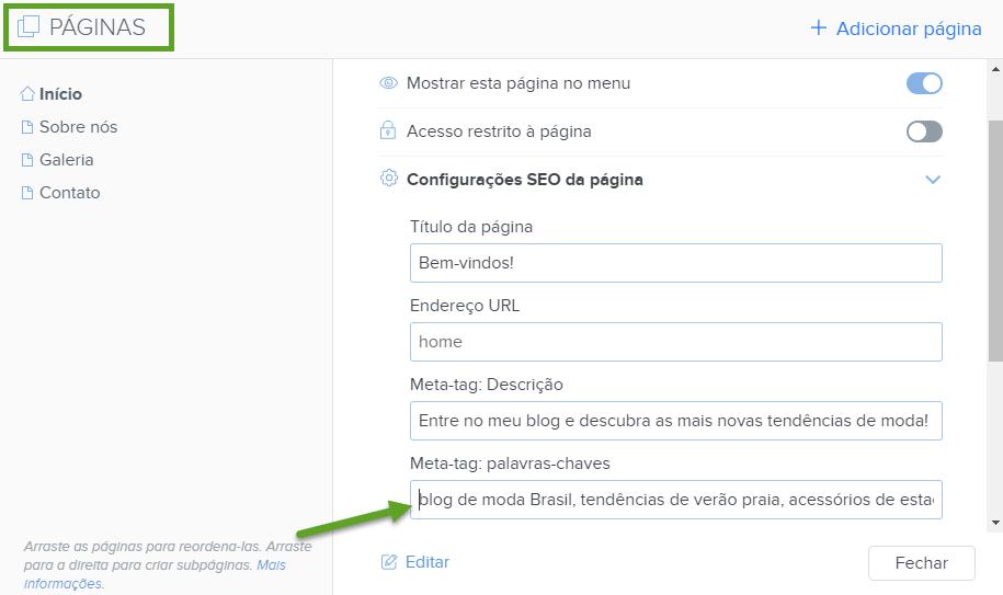 SEO - Configurando palavras-chave com Webnode