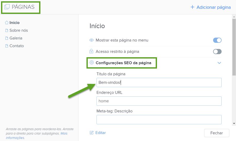 SEO - Configurando título para página com Webnode