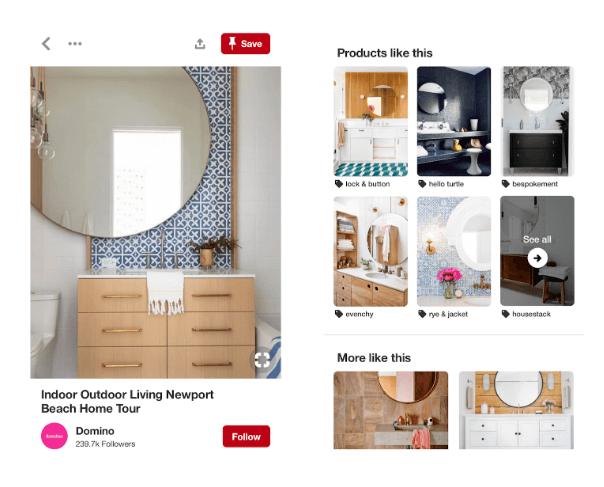 Sugestões de venda no Pinterest