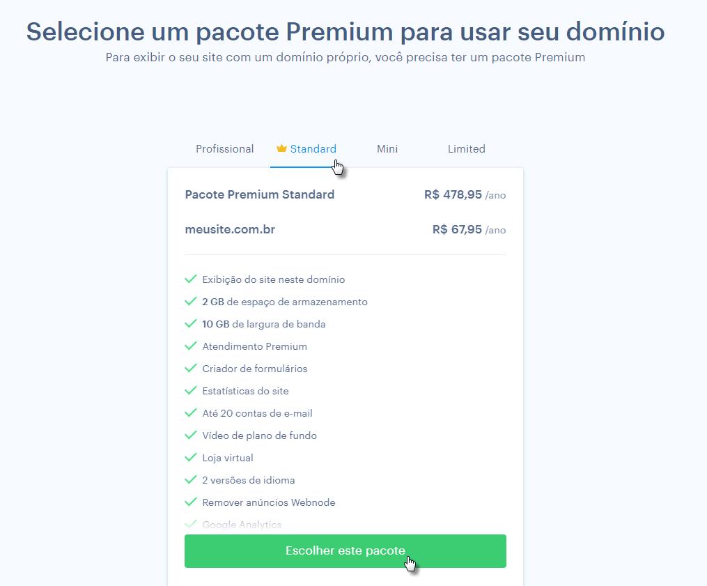 Escolhendo pacote Premium na Webnode