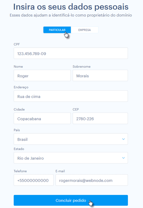 Processo de compra de domínio na Webnode