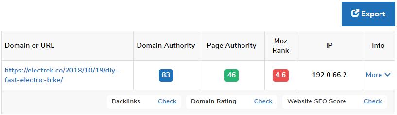 Interface de Smallseotools para identificar autoridade de site e domínio