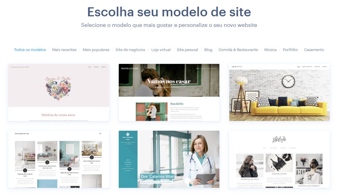 Modelos de site oferecidos por Webnode